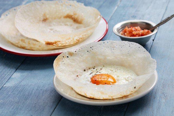 Sri lankan foods hoppers, curry, sambal